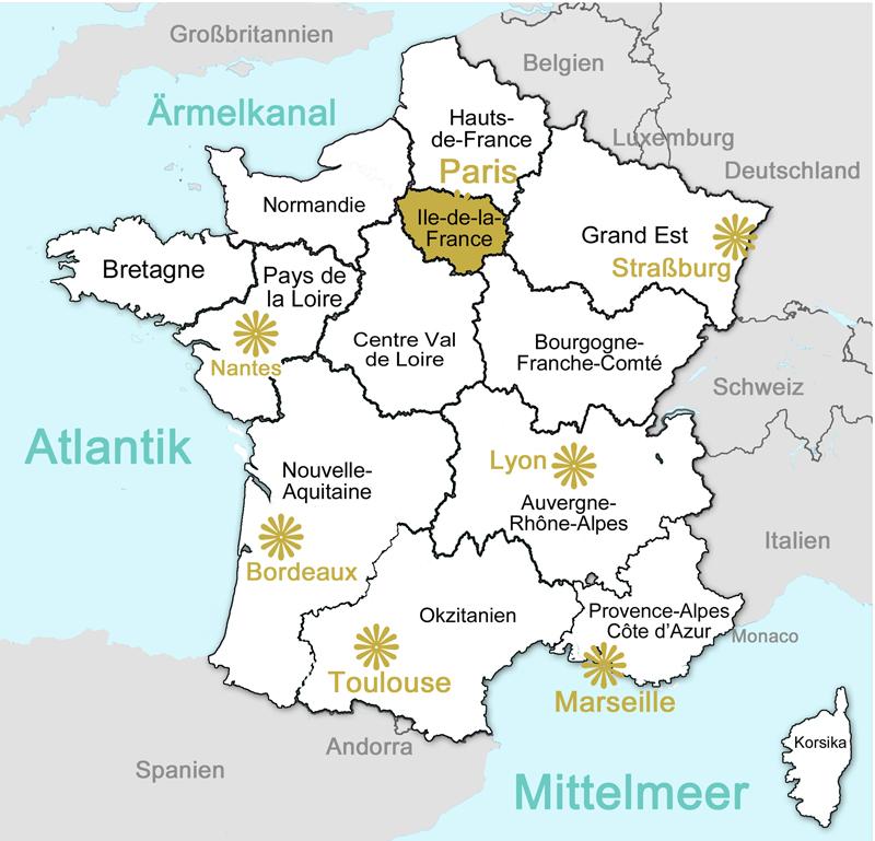 Frankreich Departements Karte.Frankreich Regionen E Mondo