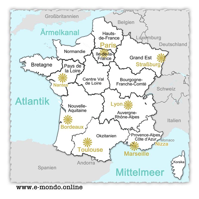 Frankreich Karte Stadte.Frankreich Regionen E Mondo