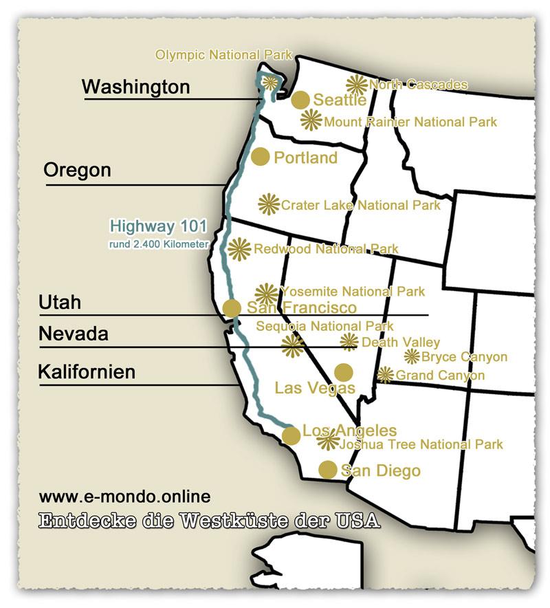 Karte-Westkueste-USA